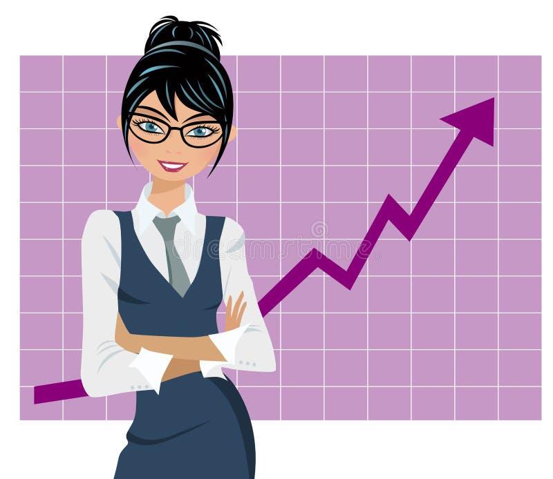 Pomyślny Biznesowej kobiety wykres royalty ilustracja