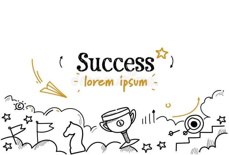 Pomyślny biznesowy zwycięzca najpierw umieszcza strategia sukcesu pojęcia nakreślenia doodle kopii horyzontalną odosobnioną przes ilustracji