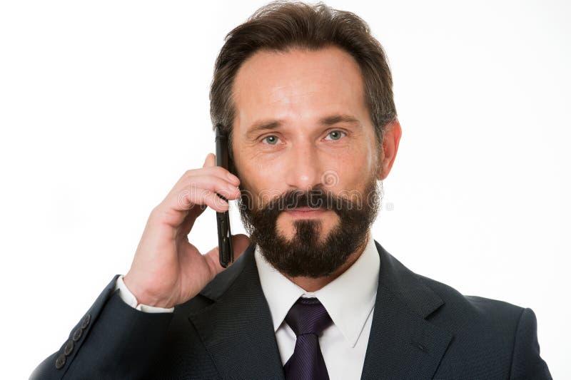 Pomyślny biznesu wezwanie Zanim wezwanie pisze puszek informaci musi przenosić i cokolwiek potrzeba pyta klienta Biznesmen zdjęcia stock