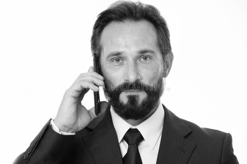 Pomyślny biznesu wezwanie Zanim wezwanie pisze puszek informaci musi przenosić i cokolwiek potrzeba pyta klienta Biznesmen obrazy royalty free