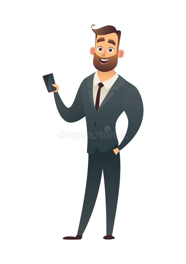 Pomyślny broda biznesmen z telefonu biznesu charakterem ilustracja wektor