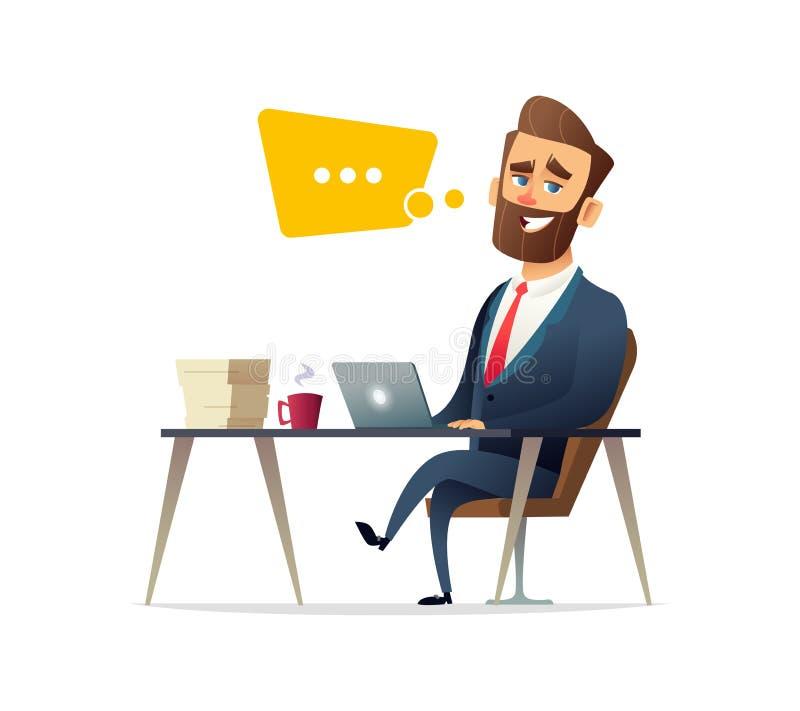 Pomyślny broda biznesmena charakter pracuje na laptopie przy biurowym biurkiem Biznesowa pojęcie ilustracja ilustracja wektor