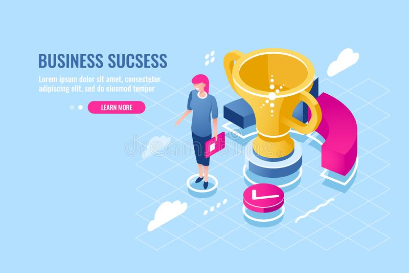 Pomyślny business manager, osiągnięcie cel, sukces kobiety, zasługiwał nagrodę, młoda dziewczyna z złotą filiżanką, finanse ilustracji
