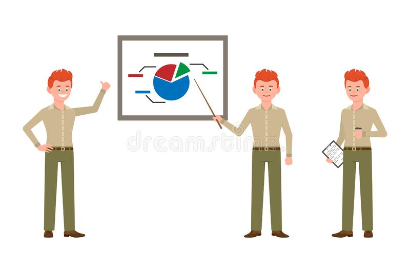 Pomyślny, czerwony włosiany młody biznesowy mężczyzna w zieleni, dyszy wektorową ilustrację ilustracji
