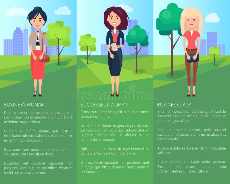 Pomyślny damy Biznesowej kobiety Kolorowy sztandar ilustracja wektor