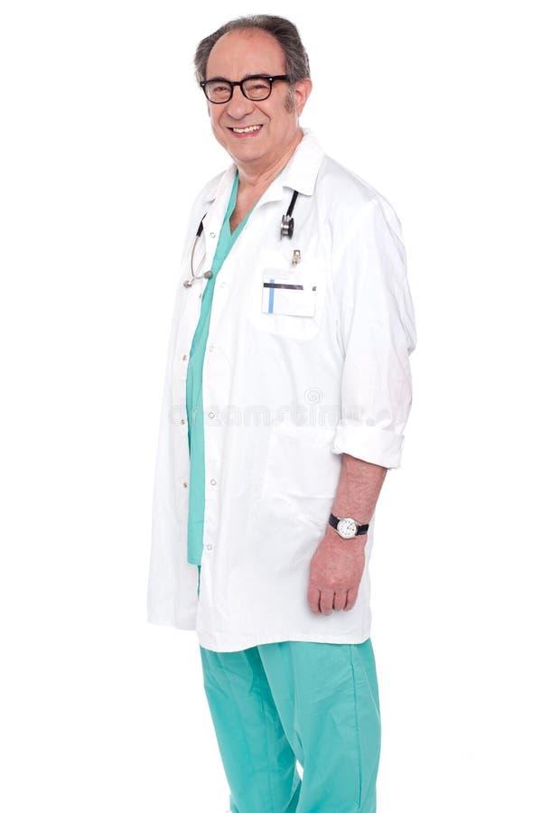 pomyślny doktorski szczęśliwy męski portret obraz stock