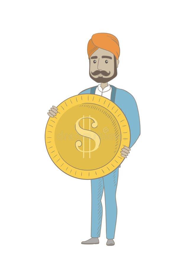 Pomyślny hinduski biznesmen z dolar monetą ilustracji