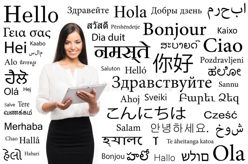 Pomyślny i piękny bizneswoman z tekstem na bielu obrazy stock