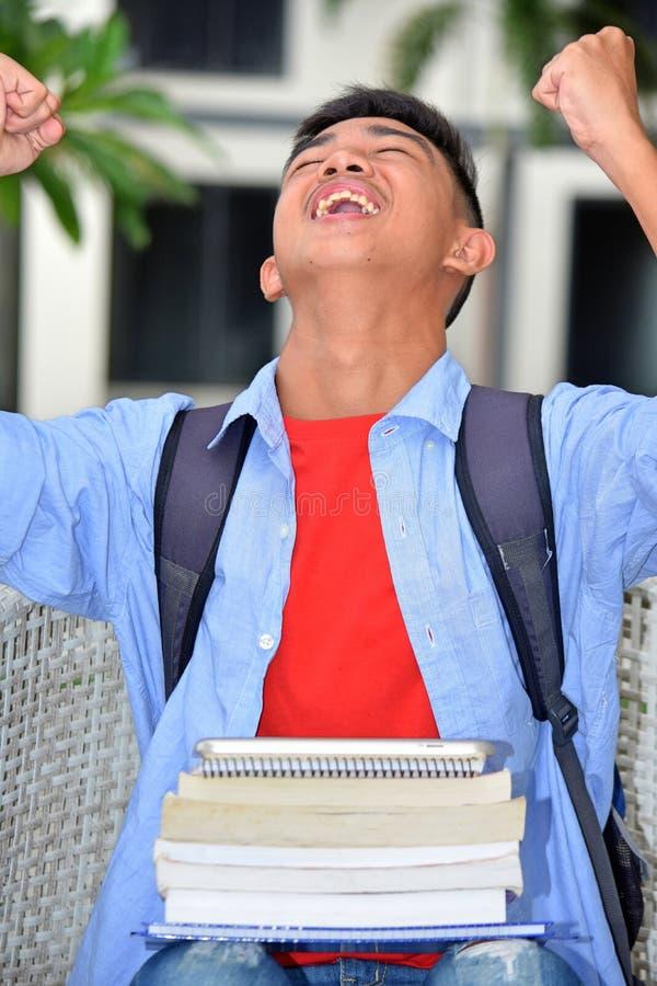 Pomyślny Młody chłopiec uczeń zdjęcia royalty free
