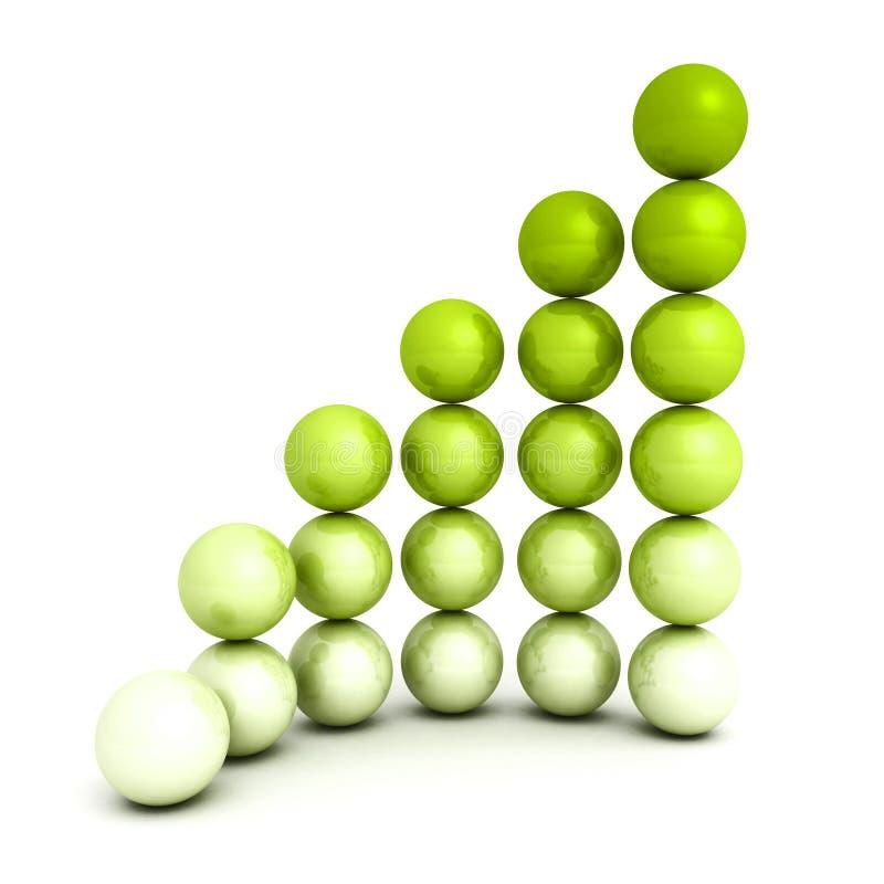 Pomyślny przyrosta baru sfery wykresu diagram ilustracja wektor