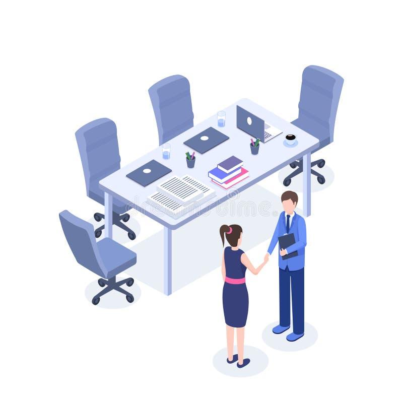 Pomyślnych biznesowych negocjacji isometric ilustracja HR agent, pracodawca i pracownik w pokoju konferencyjnego 3d kreskówce, ilustracji