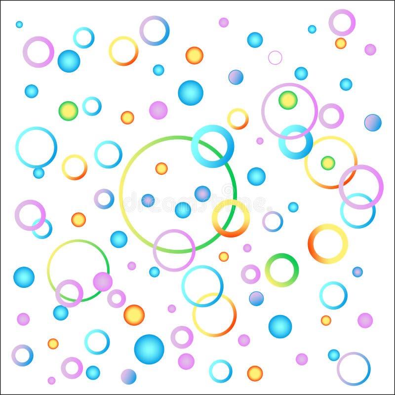 Pomysł dziecka tła wizerunek w różnorodność kolorach Balony i spirale świąteczni kolory niebieski obraz nieba tęczową chmura wekt ilustracja wektor