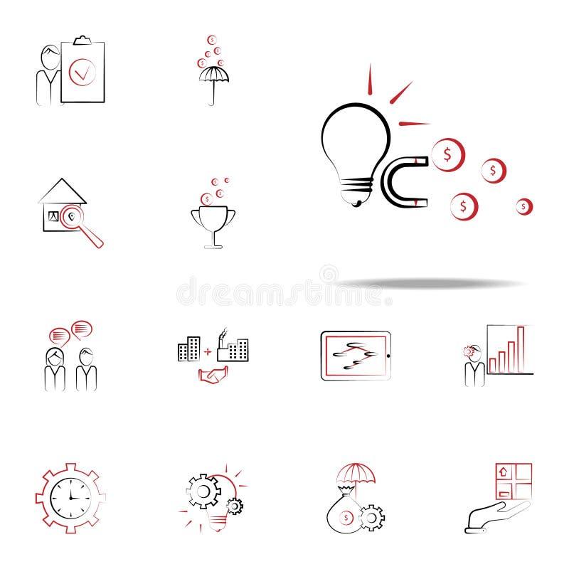 Pomysł przyciąga magnes finansową ikonę Biznesu i zarządzania ikon ogólnoludzki ustawiający dla ilustracja wektor
