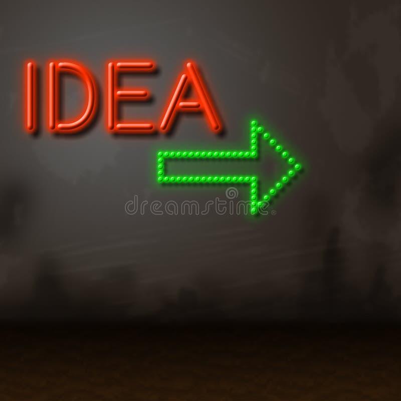 Pomysłów Neonowych przedstawień Kreatywnie wymyślenia, Fluorescencyjny I royalty ilustracja