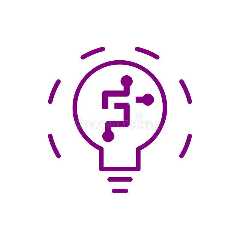 pomysł, żarówka, światło, energetyczna żarówka, głowa, główkowanie, kreatywnie biznesowe pomysł purpury barwi ikonę royalty ilustracja