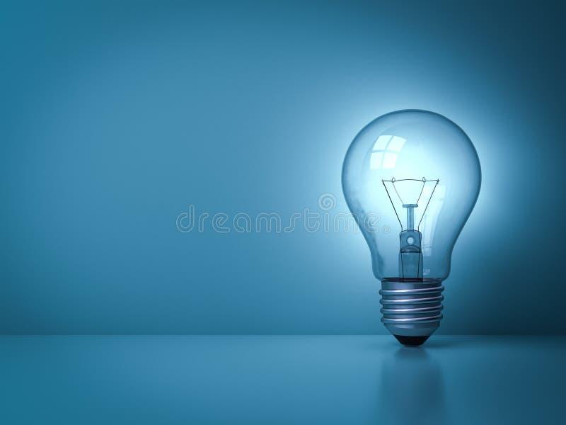 Pomysł żarówka jarzy się na zmroku - błękitny tło z odbiciem ilustracja wektor
