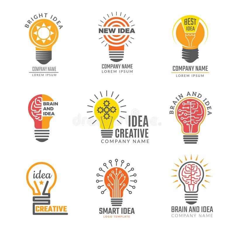 Pomysł żarówki logotypy Kolorowych kreatywnie lampowych kształtów mądrze symboli/lów potężni wektorowi logotypy royalty ilustracja