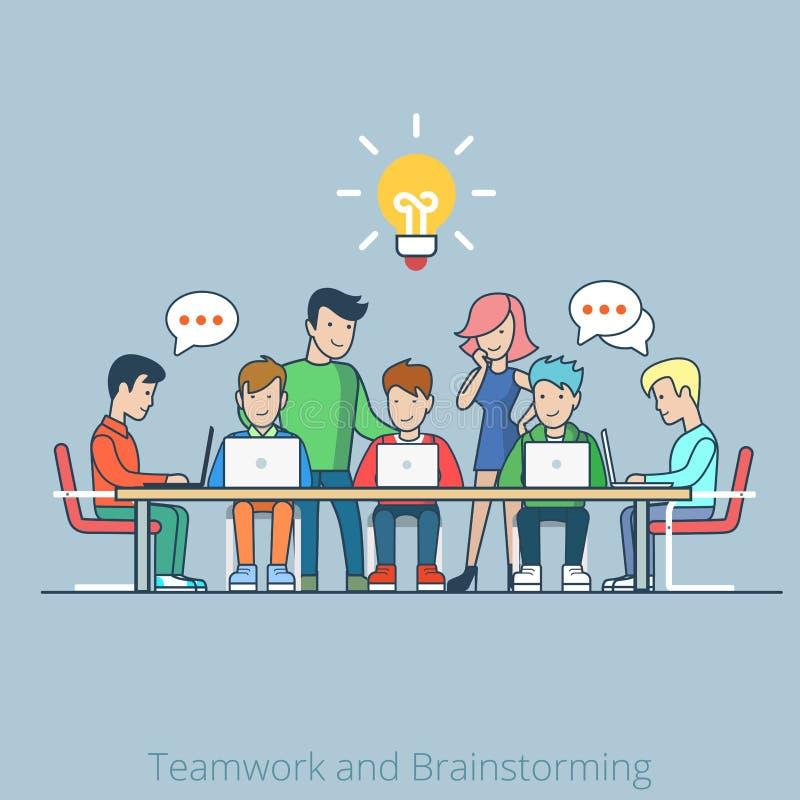 Pomysł brainstorming kreatywnie drużynowego płaskiego wektorowego infog royalty ilustracja