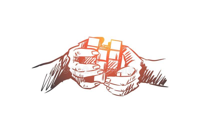 Pomysł, brainstorming, kreatywnie, innowacja, umysłu pojęcie Ręka rysujący odosobniony wektor ilustracji