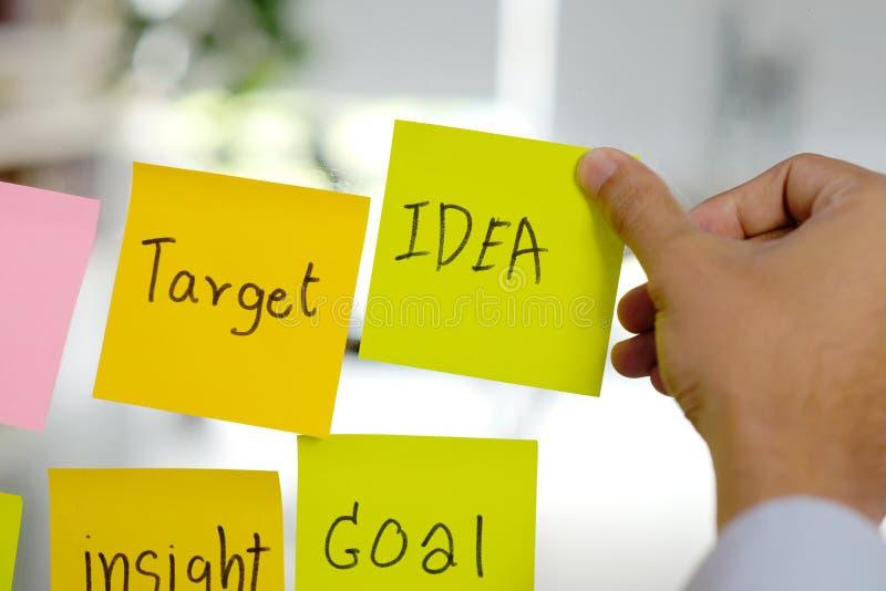 Pomysł, cel, wgląd, cel, strategia biznesowa planuje słowa na kleistym nutowym papierze w ręce pisze, sukces w biznesowym pojęciu fotografia stock