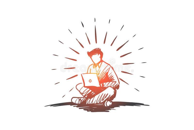 Pomysł, freelance, wolność, sukces, laptopu pojęcie Ręka rysujący odosobniony wektor ilustracja wektor