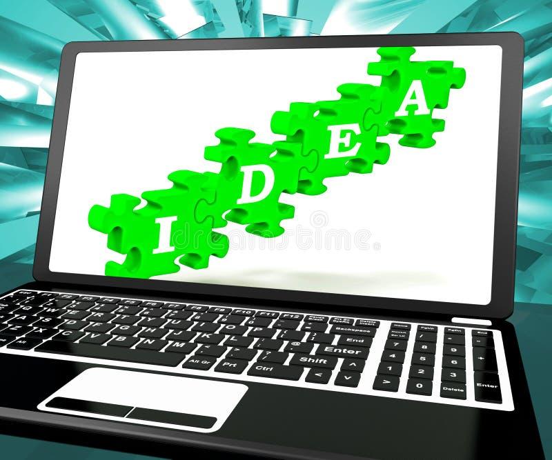 Pomysł Na laptopie Pokazuje stron internetowych wymyślenia ilustracja wektor