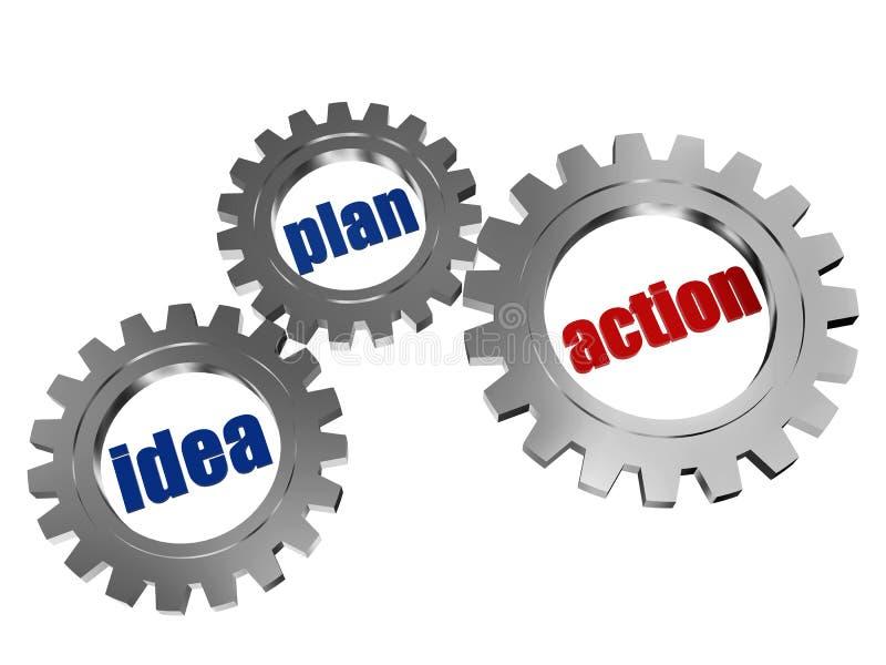 Pomysł, plan, akcja w srebnego grey gearwheels ilustracja wektor