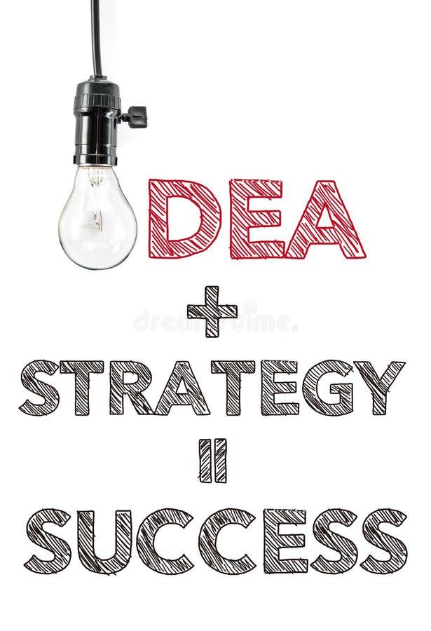 Pomysł plus strategia równy sukces, ręki writing, innowacja fotografia stock