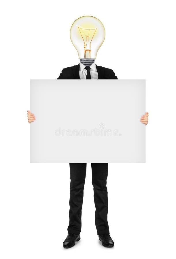 pomysł w garniturze trzyma pustego sztandar zdjęcie royalty free