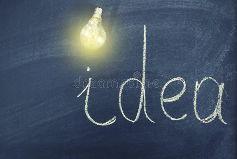 Pomysł z żarówką na chalkboard ilustracja wektor