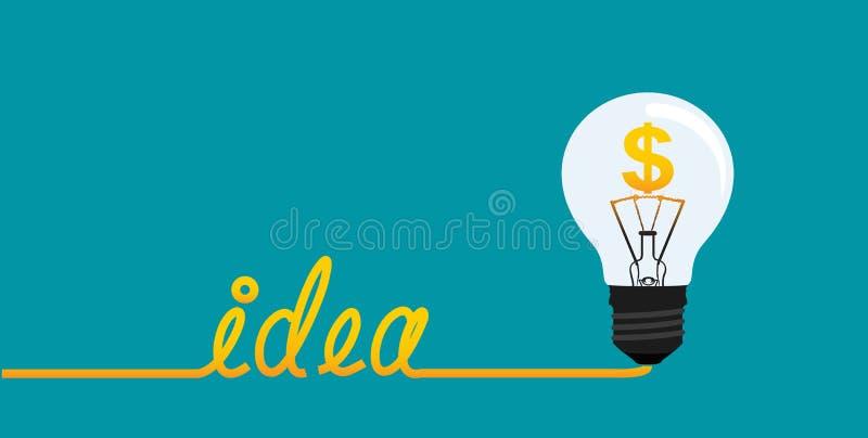 Pomysłu światła żarówka z dolarowym symbolem royalty ilustracja