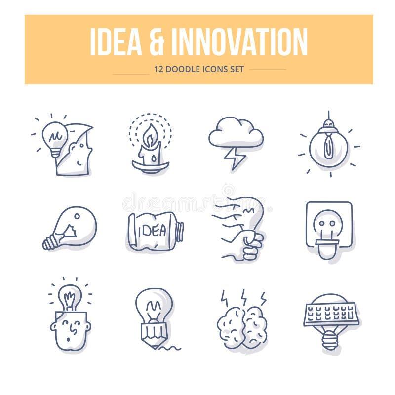 Pomysłu & innowaci Doodle ikony ilustracja wektor