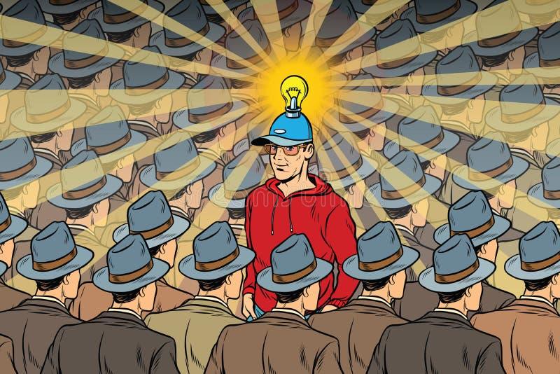 Pomysłu mężczyzna w niedźwięcznym tłumu ilustracji