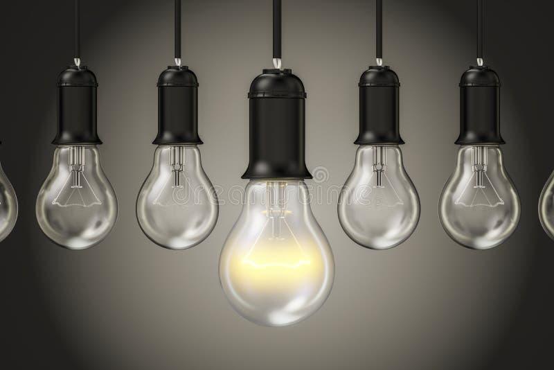Pomysłu pojęcie, rząd od lightbulbs 3d royalty ilustracja