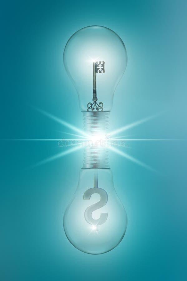 Pomysłu pojęcie z kluczowym i dolarowym podpisuje wewnątrz bliźniacze żarówki na błękitnym tle zdjęcie stock