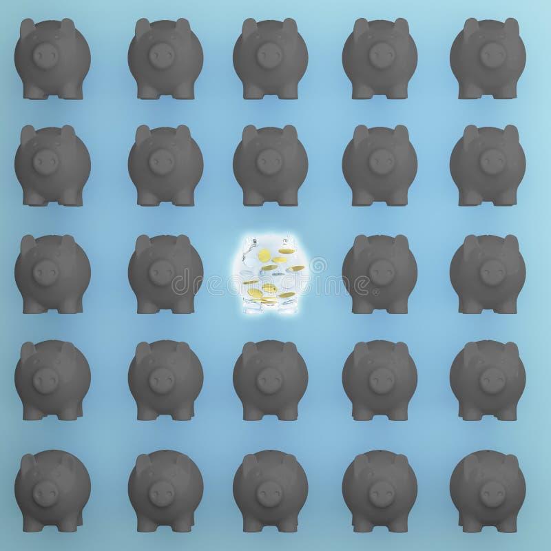 Pomysłu pojęcie: Znakomitych Świniowatych savings różne czarne świnie na błękitnym tle ilustracji