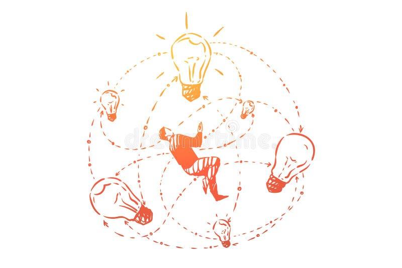 Pomysłu pokolenie, twórczość, osoby gmerania rozwiązania kreatywnie główkowanie i wyobraźni metafora, ilustracja wektor
