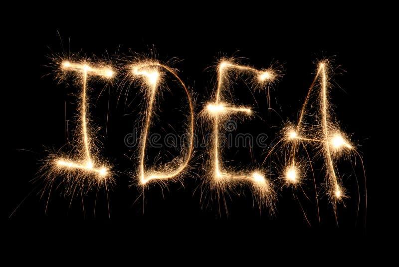 pomysłu sparkler słowo pisać zdjęcia stock