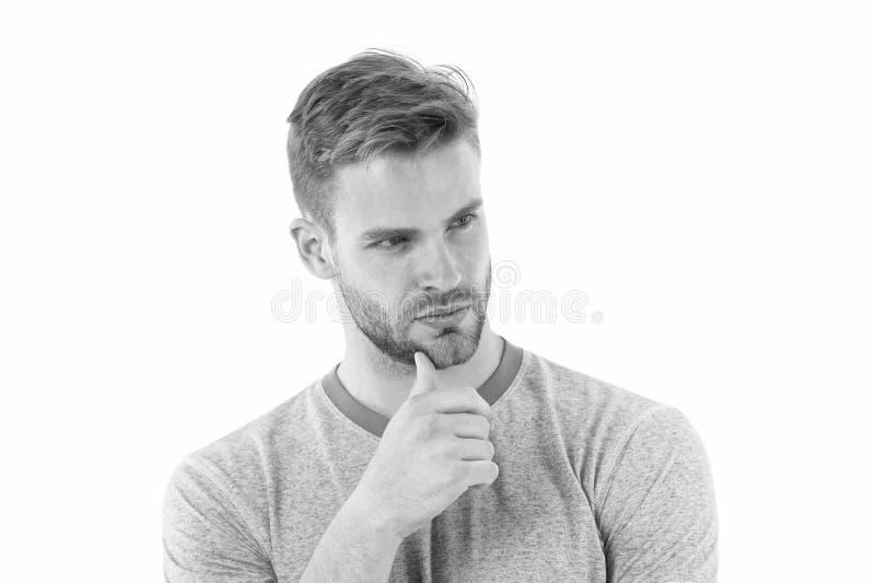 pomysłu target308_0_ Obsługuje szczecina poważną twarz patrzeje dla pomysłu, biały tło Facetów dotyków brodaty rozważny szczecina obrazy royalty free