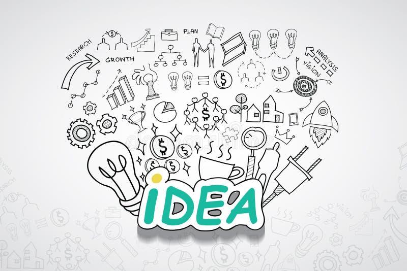 Pomysłu tekst Z kreatywnie rysunków wykresów i map biznesowego sukcesu strategii planu pomysłem, inspiraci pojęcia nowożytnego pr royalty ilustracja
