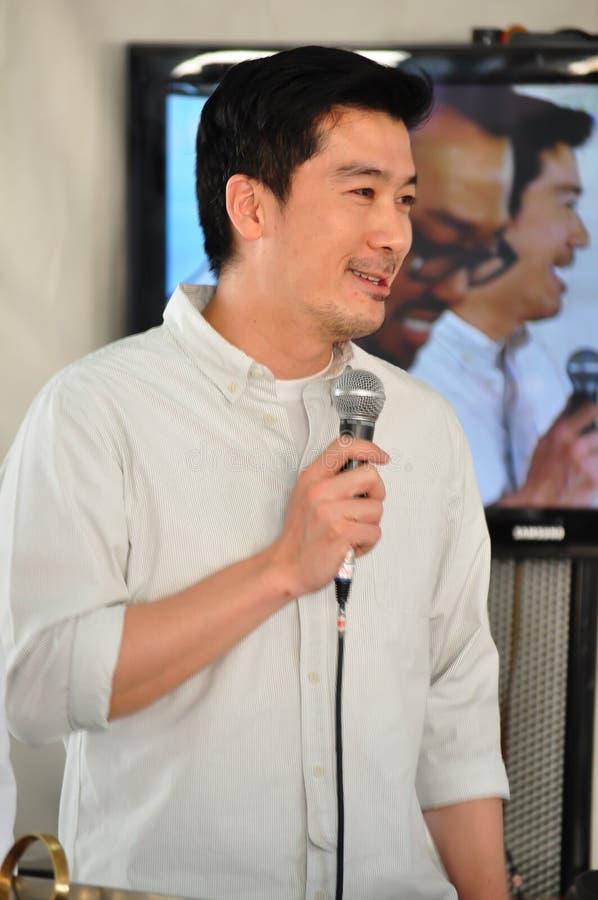 Pon Tantasatien is Thaise acteur, model en de Thaise beroemdheidschef-kok, werd het beeld genomen bij het grote festival van Thai royalty-vrije stock afbeeldingen