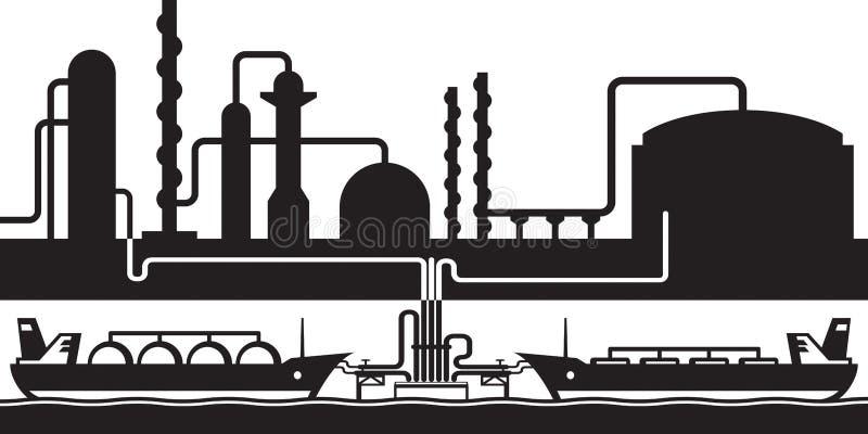 Ponaftowy rafiner morza eksport śmiertelnie ilustracja wektor