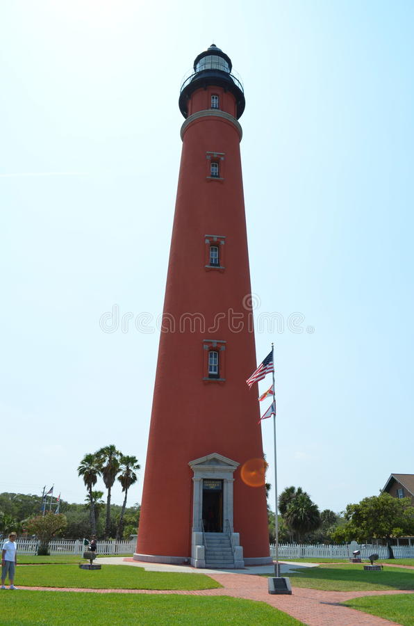 Ponce de Leon Inlet Lighthouse. The Ponce de Leon Inlet Light is a lighthouse and museum located at Ponce de León Inlet in Central Florida. At 175 feet in stock photography