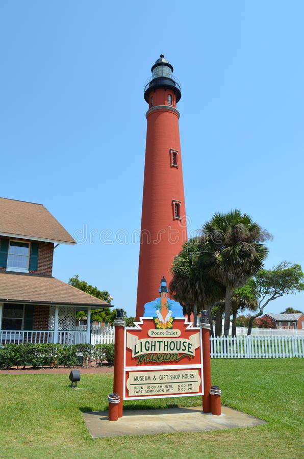 Ponce de Leon Inlet Lighthouse. The Ponce de Leon Inlet Light is a lighthouse and museum located at Ponce de León Inlet in Central Florida. At 175 feet in royalty free stock images