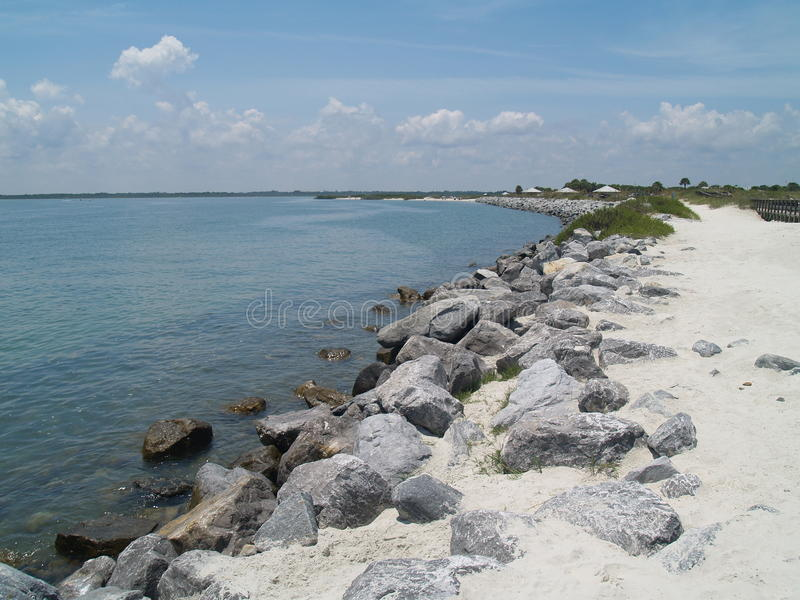 Ponce Inlet Jetty stock photo