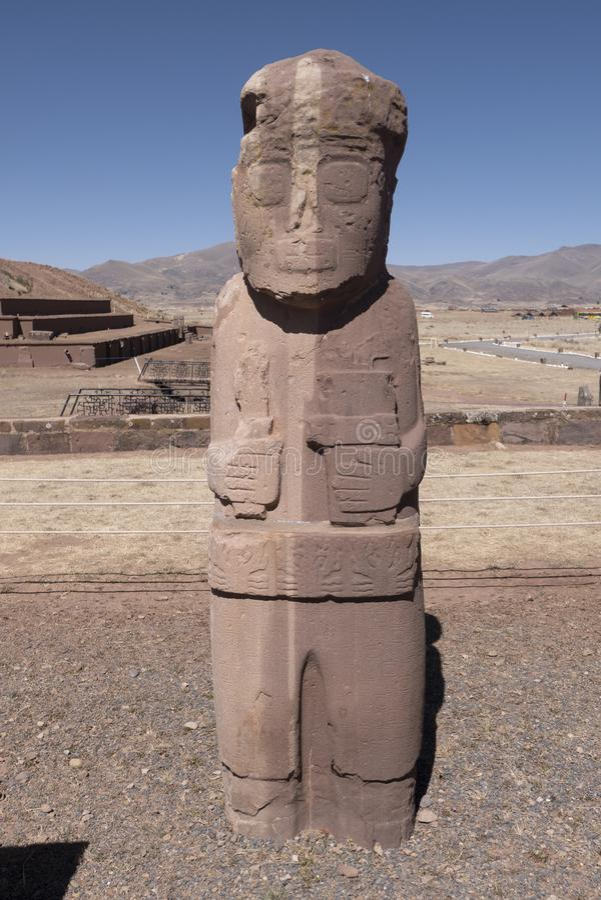 Ponce Monolith in Tiwanaku Tiahuanaco, Bolivia stock photos