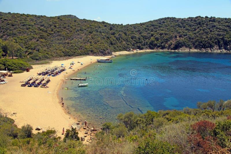 Poncez la mer de plage et de turquoise, île d'Ammouliani, Grèce photo stock