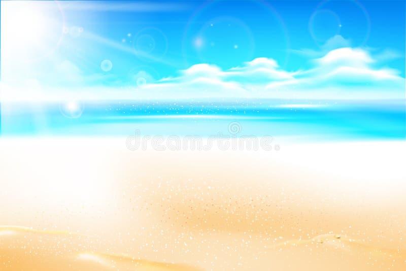 Poncez la plage au-dessus de la mer de tache floue et le ciel avec la fusée et le copysp de lumière du soleil illustration libre de droits