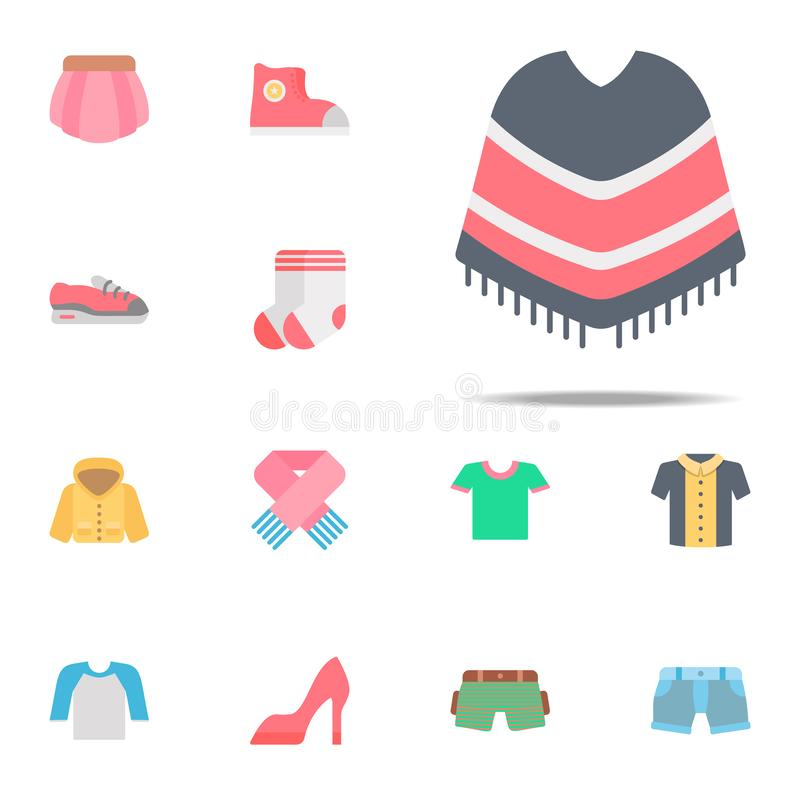Poncho color icon. Clothes icons universal set for web and mobile stock illustration