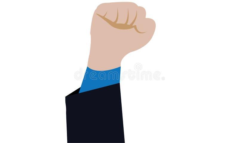 Poncz ręki nakreślenie Biznesowego mężczyzna ręka Podnosząca Up Dla wygrany - Potężna ręka Podnosząca Up - ilustracji